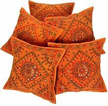 RAJRANG Orange - mit Spiegeleffekt - Handarbeit Kissenbezug Baumwolle Kissenbezug 5 St.
