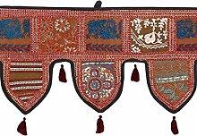 Rajrang Spitzen Handarbeit Türaufhänger, Türdekoration - zum aufhängen - Handarbeit Baumwolle Toran