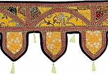 Rajrang Spitzen Handarbeit Türaufhänger, Türdekoration - zum aufhängen - Handarbeit Baumwolle schwarz Toran