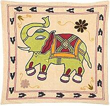 Rajrang Wandbehang Bestickt Baumwolle Cream Wandbehang, Wanddeko Dekoration