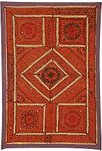 Rajrang Wandbehang, Wanddeko Handarbeit Baumwolle Braun Dekoration