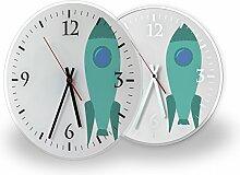 Rakete - Lautlose Wanduhr mit Fotodruck auf Polycarbonat | geräuschlos kein Ticken Fotouhr Bilderuhr Motivuhr Küchenuhr modern hochwertig Quarz | Variante:30 cm rund mit weißen Zeigern - GERÄUSCHLOS