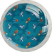 Rakete und Spacmen Küchenknopf Klarglasschrank