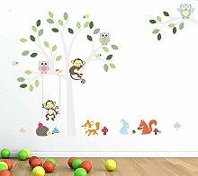 RALCAN Weißer Baum Wandaufkleber Fox Eulen Affe
