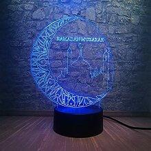 Ramadan Mubarak Lighting Moon City 3D LED