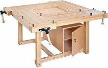 RAMIA Hobelbank für Ausbildungsstätten - SQUARE mit Holzgestell und 1 Werkzeugschrank