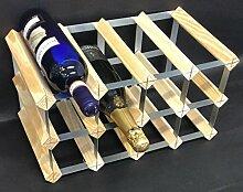 Rammento Weinregal für 12 Flaschen, Kiefernholz,