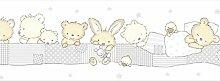 Rand aus Papier Tapete Kinder mit Bären selbstklebend creme grau aus Papier 590–3treboli