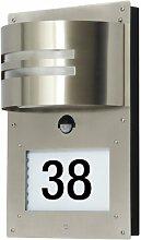 Ranex 5000.418 Rostfreie Edelstahl Hausnummernleuchte mit Bewegungsmelder / Erfassungsbereich 130° x 8 Meter