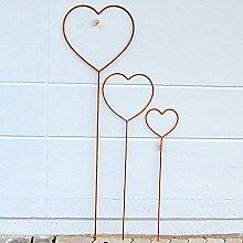 Rankhilfe Herz 3 er zum Stecken 140cm / 100cm / 80cm