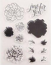 Ranuw Blumen Silikon Klar Siegel Stempel DIY