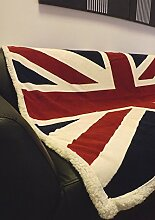 Rapport Fleece-Decke mit Union-Jack-Flagge, extraweich, Bett-/Sofa-Überwurf, rot/weiß/blau.