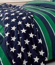 Rapport Sterne Bett Sofa Fleece Decke SOFT Tagesdecke, Polyester, blau