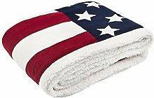 Rapport USA Flagge Weiche Sofa Bett Fleece Überwurf oder Decke, rot/weiß/blau