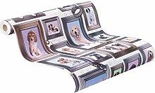 rasch 272703 Papier-Tapete, Hunde, Collage, Weißer Grund, Rosa/Blau/Gelb