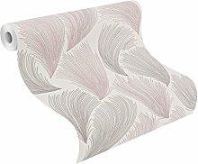 rasch 319705 Relief-Tapete auf Papier, geschwungene Linien, Weiß/Silber/Rosa