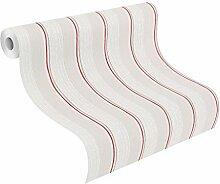 rasch 448405 Vlies-Tapete, moderne Streifen, weiß, Grau, Ro