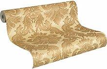 rasch 515060 Vlies-Tapete Ornamente auf goldenen Grund, klassisches Muster, Trianon XI, Gelb