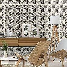 Rasch Blumenmuster Kachel Muster Tapete Küche Badezimmer Blattmotiv Geprägt - Schwarz Weiß 885316