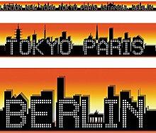 RASCH Borte Bordüre- 246407 Hauptstädte selbstklebend orange / schwarz