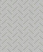Rasch Chevron Stripe Muster Glitzer Motiv Küche Badezimmer Vinyl Tapete Grey Silver 888201