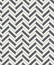 Rasch Chevron Stripe Muster Glitzer Motiv Küche Badezimmer Vinyl Tapete White Black 888225