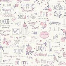 Rasch Inspirationen Tapete - weiß und rosa 216707