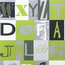 Rasch - Kinderzimmer Tapete mit Alphabet Buchstaben Muster - Grün 231106