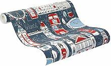 rasch Papier-Tapete, Kinder-Tapete, London, blau, Rot, Weiß, Bambino Xvii, 245912, rot, weiß