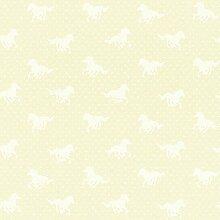 Rasch Pferd-motiv Punkte-muster Mädchen Kinder Abwaschbare Tapete - Gelb 290400RASCH