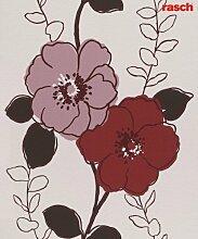 Rasch Tapete 714531 Vliestapete Blumenmotiv rot-braun modern