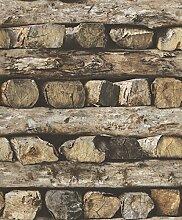 Rasch Tapete - braun - Holz - 10 Meter - 1 Rolle