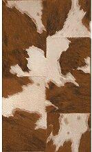 Rasch - Tapete mit Kuhfell Muster - Braun Weiß 473902