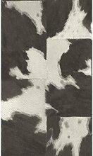Rasch - Tapete mit Kuhfell Muster - Schwarz Grau 473919