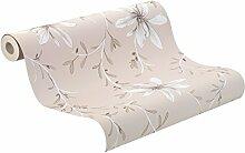 Rasch Tapeten 897722 Vlies-Tapete, florales Muster im Landhaus-Stil, Freja, Grau, Alt-rosa / Weiß / Braun
