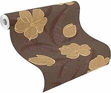 rasch Vlies-Tapete, Blumen, florale Struktur-Tapete, beige, Plaisir 788136, Braun,