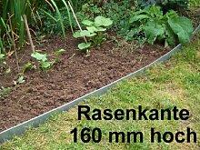Rasenkanten aus Edelstahl, V2A, 160 mm hoch,