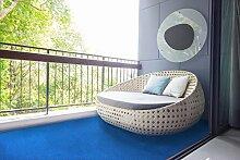Rasenteppich Kunstrasen mit Noppen Blau nach Maß - 1.550 g/m² versandkostenfrei schadstoffgeprüft pflegeleicht antistatisch schmutzresistent robust strapazierfähig Balkon Terrasse Camping Freizeit , Größe Auswählen:133 x 600 cm