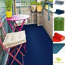 Rasenteppich Kunstrasen mit Noppen, Größe Auswählen | Außen Teppich | Für Garten, Terrasse, Balkon etc… | MadeInNature® (200 x 200 cm, Blau)