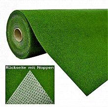 Rasenteppich Kunstrasen mit Noppen Grün nach Maß - Höhe: 7,5 mm - Gewicht: 1.150 g/m² - versandkostenfrei schadstoffgeprüft schmutzresistent robust strapazierfähig Balkon Terrasse Camping Freizeit , Größe Auswählen:400 x 150 cm
