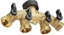 RASHION Wasseranschluss Verteiler, 4 Wege Messing