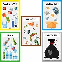 rashnice 5er Set Mülltrennung Schilder Recycling