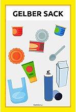 rashnice Gelber Sack Schild Mülltrennung