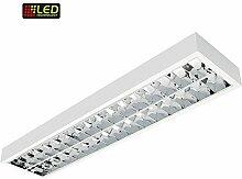 Rasterleuchte, Büroleuchte, Anbauleuchte, Deckenleuchte 1,50m mit Doppelparabolraster (BAP), vorverdrahtet für 2 LED-Röhren