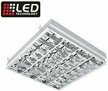 Rasterleuchte für 4x LED-Röhren, Einlegeleuchte, Deckenleuchte mit Doppelparabolraster (BAP) ,für vier LED-Röhren (60cm, G13, nicht im Preis enthalten)) …