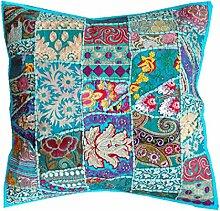 RASTOGI Kunsthandwerk Big Größe florr Kissenhülle multicolor Sari Patchwork Platz Ethnische indischen, quadratisch, groß, Design Platz Kissenbezug FIROZI