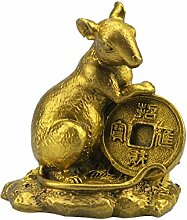 Rat Statue Figur Feng Shui Messing + kostenloser Mxsabrina mit roter Schnur Armband M5026