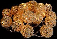 Rattan Ball LED Lichterkette Natur Handarbeit 2,5