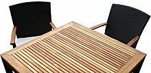 Rattan Gartenmöbel - Garten Tisch Set für 2 oder 4 Personen mit 2 oder 4 Stühlen aus Rattan und Teakholz – Elegantes Design – Rattan in dunkelbraun + Wetterfest. Aluminiumgestell. Sitzauflagen. Essgruppe. Sitzgruppe für 2 oder 4 Personen. - hervorragende Verarbeitung – top Qualität - preisgünstig (Tisch Set mit 2 Stühlen, Braun)