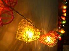 Rattan Kugeln Mix Color Herz Lichterkette für Hochzeiten Und Terrassen Deko 20Lights / Set von I Love Handarbei